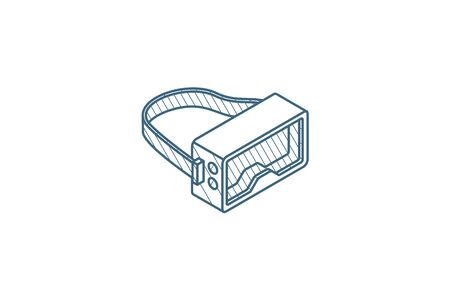 VR glasses, goggles, virtual reality 360 isometric icon. 3d vector illustration. Isolated line art technical drawing. Editable stroke