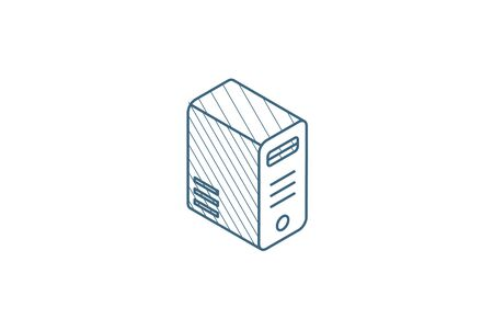 computer system unit, bloc isometric icon. 3d vector illustration. Isolated line art technical drawing. Editable stroke