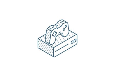 Console and joystick, gaming isometric icon. 3d vector illustration. Isolated line art technical drawing. Editable stroke Illustration