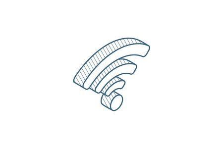 isometrische Signalsymbol. 3D-Vektor-Illustration. Isolierte Linie technische Zeichnung. Bearbeitbarer Strich