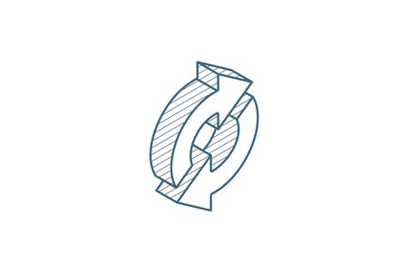Refresh Arrows, sync, exchange isometric icon. 3d vector illustration. Isolated line art technical drawing. Editable stroke