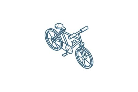 Bicycle, bike isometric icon. 3d vector illustration. Isolated line art technical drawing. Editable stroke