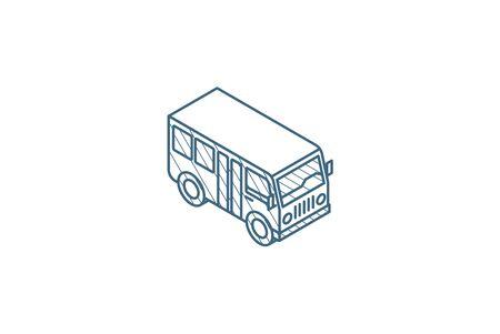 passenger bus isometric icon. 3d vector illustration. Isolated line art technical drawing. Editable stroke