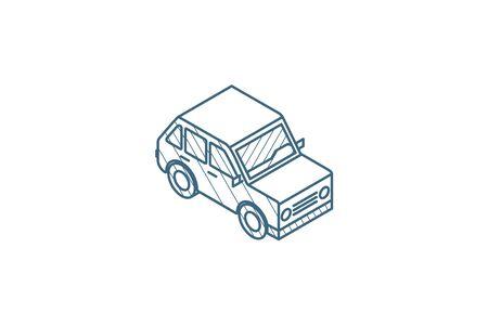 car, hatchback isometric icon. 3d vector illustration. Isolated line art technical drawing. Editable stroke Illustration
