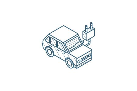 electric car, plug cable, ecology isometric icon. 3d vector illustration. Isolated line art technical drawing. Editable stroke