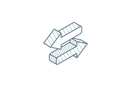 Arrows Exchange isometric icon. 3d vector illustration. Isolated line art technical drawing. Editable stroke