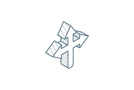 Arrow cross, three-way isometric icon. 3d vector illustration. Isolated line art technical drawing. Editable stroke