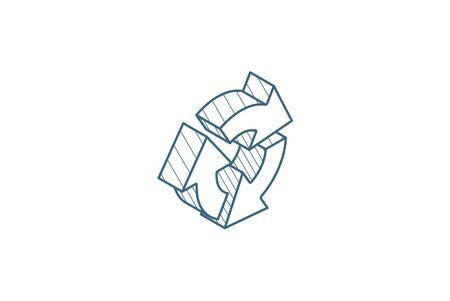 Refresh three arrow rotate isometric icon. 3d vector illustration. Isolated line art technical drawing. Editable stroke Illustration