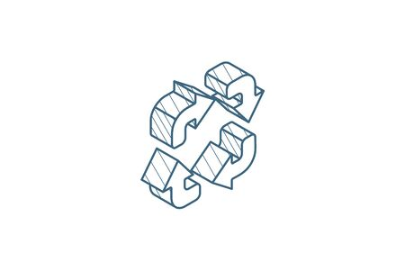 Refresh four arrows isometric icon. 3d vector illustration. Isolated line art technical drawing. Editable stroke