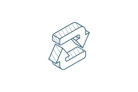 Refresh Arrows isometric icon. 3d vector illustration. Isolated line art technical drawing. Editable stroke