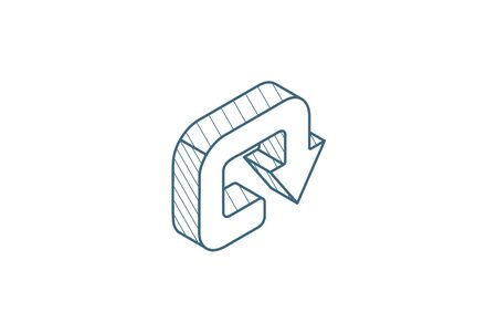 rotate, circle, round turn isometric icon. 3d vector illustration. Isolated line art technical drawing. Editable stroke