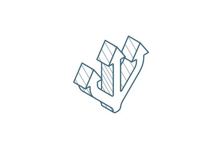 Junction Separation, three way isometric icon. 3d vector illustration. Isolated line art technical drawing. Editable stroke