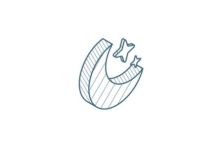 night, Moon and star isometric icon. 3d vector illustration. Isolated line art technical drawing. Editable stroke