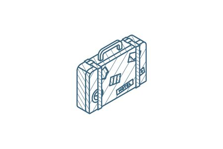 luggage, suitcase, travel bag whith stickers isometric icon. 3d vector illustration. Isolated line art technical drawing. Editable stroke