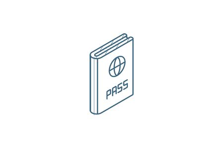 Passport, id document isometric icon. 3d vector illustration. Isolated line art technical drawing. Editable stroke