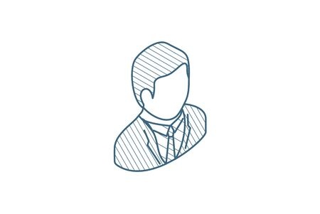 businessman avatar isometric icon. 3d vector illustration. Isolated line art technical drawing. Editable stroke