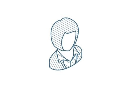businesswoman, lady avatar, business isometric icon. 3d vector illustration. Isolated line art technical drawing. Editable stroke