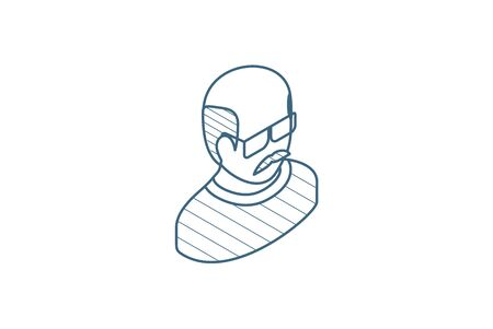 Avatar, father, adult man isometric icon. 3d vector illustration. Isolated line art technical drawing. Editable stroke