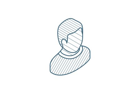 Avatar, black man isometric icon. 3d vector illustration. Isolated line art technical drawing. Editable stroke Illustration