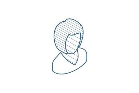 Avatar black woman isometric icon. 3d vector illustration. Isolated line art technical drawing. Editable stroke Illustration