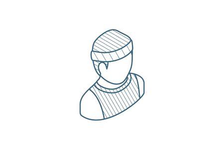 sportsman, running isometric icon. 3d vector illustration. Isolated line art technical drawing. Editable stroke Illustration