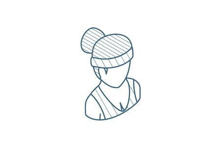 Healthy young woman, sport avatar isometric icon. 3d vector illustration. Isolated line art technical drawing. Editable stroke Illustration