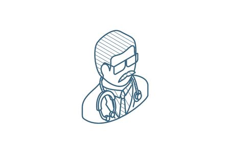 Avatar, doctor whith phonendoscope isometric icon. 3d vector illustration. Isolated line art technical drawing. Editable stroke Illustration