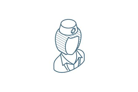 nurse avatar, doctor isometric icon. 3d vector illustration. Isolated line art technical drawing. Editable stroke