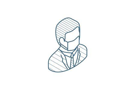 Businessman in mask, coronavirus, influenza, fever prevention isometric icon. 3d vector illustration. Isolated line art technical drawing. Editable stroke