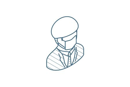 Doctor in mask and uniform isometric icon. 3d vector illustration. Isolated line art technical drawing. Editable stroke