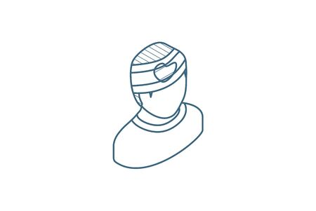 patient, injury isometric icon. 3d vector illustration. Isolated line art technical drawing. Editable stroke