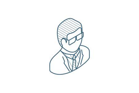 Scientist, Chemist, pharmacologist, beaker occupation isometric icon. 3d vector illustration. Isolated line art technical drawing. Editable stroke