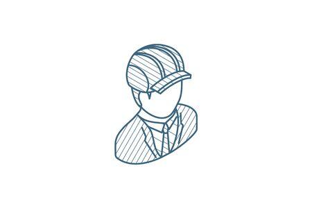 Engineer avatar, architect in helmet isometric icon. 3d vector illustration. Isolated line art technical drawing. Editable stroke Illustration