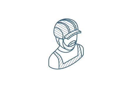 Avatar Builder iin hemlet isometric icon. 3d vector illustration. Isolated line art technical drawing. Editable stroke