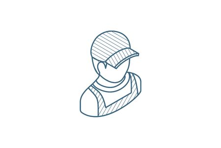 Delivery man in red uniform isometric icon. 3d vector illustration. Isolated line art technical drawing. Editable stroke