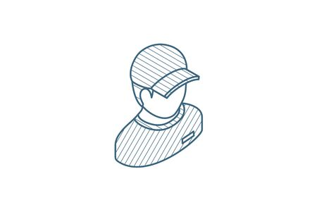 Delivery man in red uniform, courier isometric icon. 3d vector illustration. Isolated line art technical drawing. Editable stroke