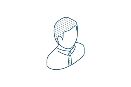 office man isometric icon. 3d vector illustration. Isolated line art technical drawing. Editable stroke
