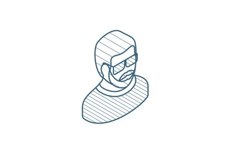 Avatar, man in Sun glasses isometric icon. 3d vector illustration. Isolated line art technical drawing. Editable stroke