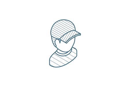 little boy in red cap isometric icon. 3d vector illustration. Isolated line art technical drawing. Editable stroke