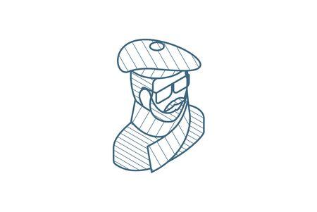 Artist avatar, arts portrait isometric icon. 3d vector illustration. Isolated line art technical drawing. Editable stroke