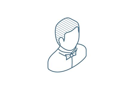 waiter avatar, man whith bow tie isometric icon. 3d vector illustration. Isolated line art technical drawing. Editable stroke Illustration