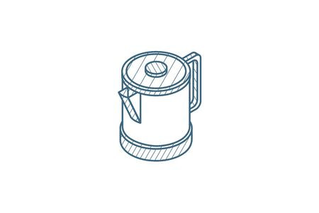 electric kettle isometric icon. 3d vector illustration. Isolated line art technical drawing. Editable stroke