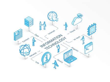 Information Technology isometric concept. Connected line 3d icons. Integrated infographic system. People teamwork. Device, IT, content cloud symbols. Program code, tech data, network, server pictogram Vektoros illusztráció