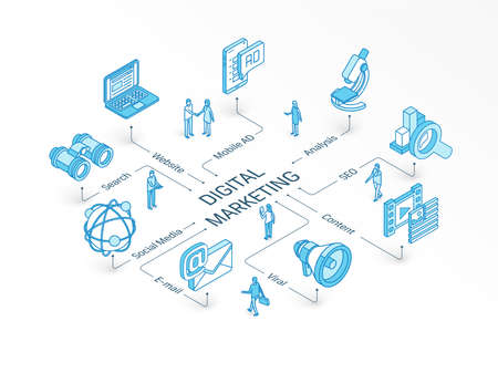 Digital Marketing isometric concept. Connected line 3d icons. Integrated infographic system. People teamwork. Viral content, E-mail, website symbol. Mobile AD, Social Media analysis, SEO pictogram Illustration