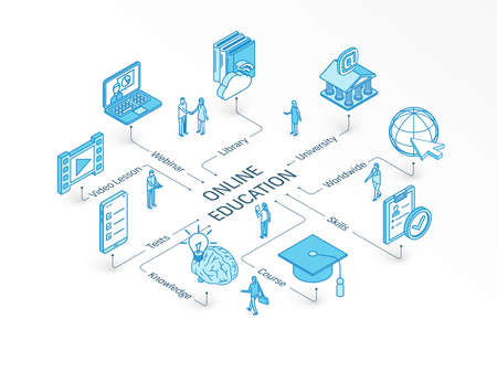 Online Education isometric concept. Connected line 3d icons. Integrated infographic system. People teamwork. Course, worldwide, webinar, skills symbol. University test, Library, video lesson pictogram