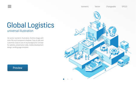 Global Logistics. Business people teamwork. Import or export modern isometric line illustration. Transport, shipping, delivery, distribution icon. 3d vector background. Growth step infographic concept Illustration