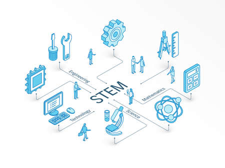 STEM isometric concept. Connected line 3d icons. Integrated infographic design system. People teamwork. Science, Technology, Engineering, Mathematics symbols. Math study, education, learning pictogram Illustration