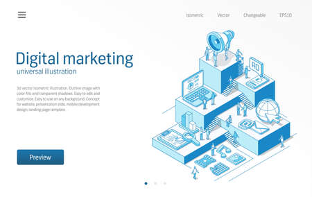 Digital marketing. Business people teamwork. Mobile advertising strategy, seo modern isometric line illustration. Social media, viral content icon. 3d vector background. Growth step infograph concept