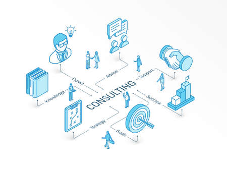 Consulting isometric concept. Connected line 3d icons. Integrated infographic system. People teamwork. Goals, Expert, Success symbol. Business Strategy, Advise, Knowledge and Support pictogram Illustration
