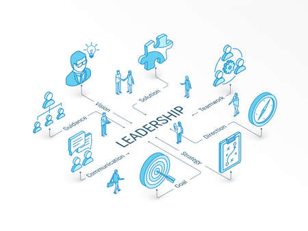 Leadership isometric concept. Connected line 3d icon. Integrated infographic system. People teamwork. Vision, Goal, Guidance and Strategy symbol. Direction, Teamwork, Solution, Communication pictogram